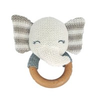 Jucarie crosetata pentru dentitie Baby Hug, 12 cm, bumbac, 0 luni+, model elefantel