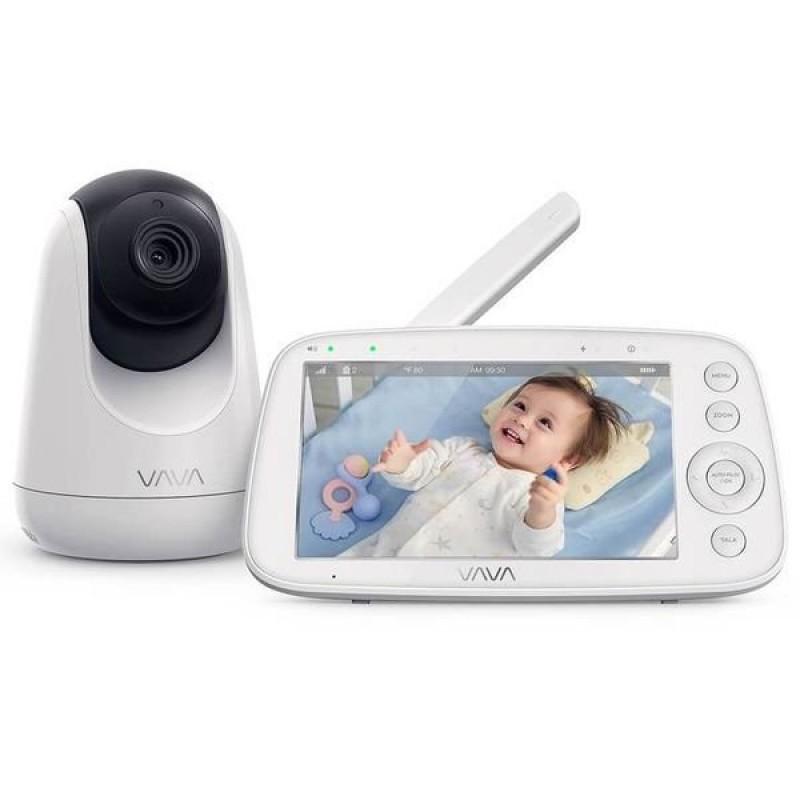 Baby Monitor VAVA, display 5 inch, raza 300 m, 720p, night vision, alarma, temperatura, unghi larg, zoom, control directional, Alb 2021 shopu.ro