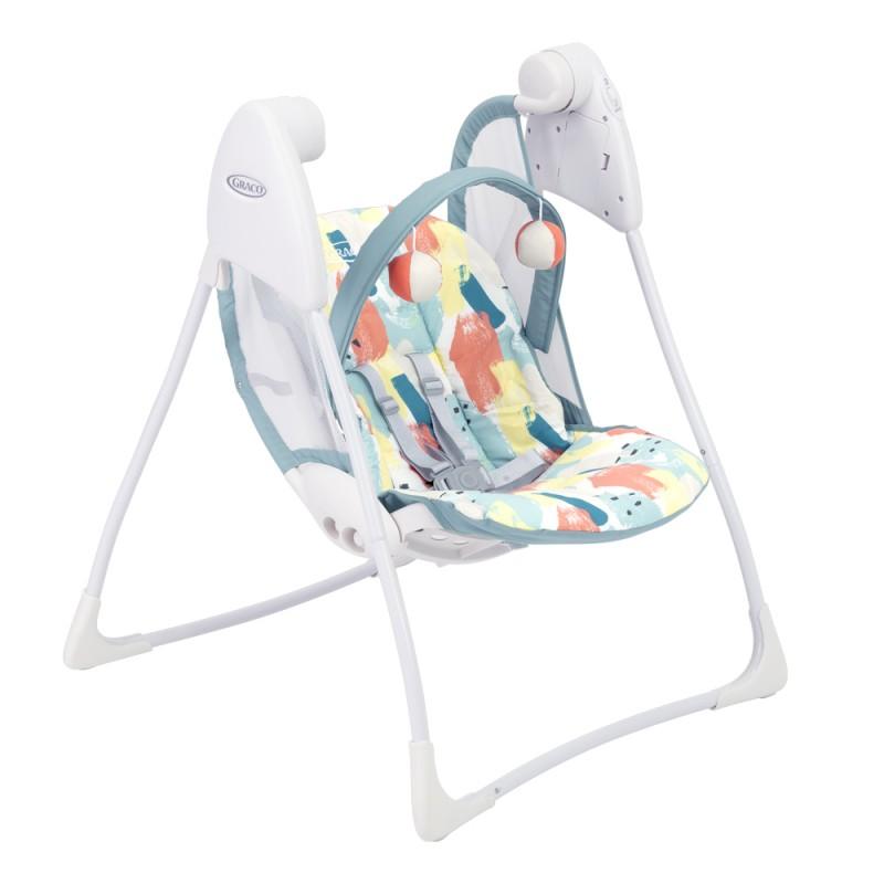 Balansoar pliabil Baby Delight Paintbox Graco, 63 x 63 x 82 cm, 2 viteze, maxim 9 kg, 0-12 luni, Multicolor 2021 shopu.ro