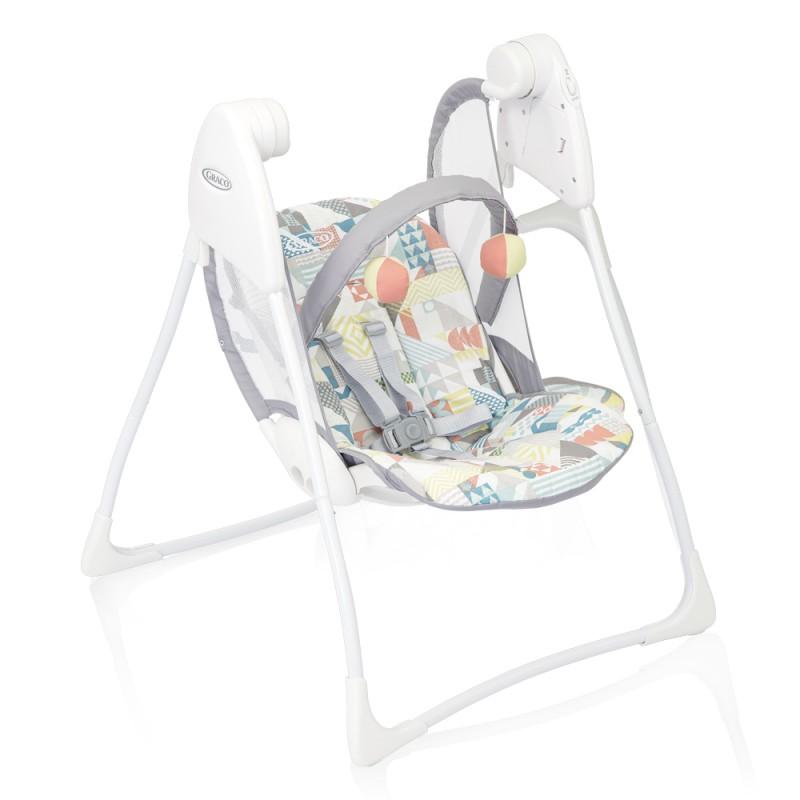 Balansoar pliabil Baby Delight Patchwork Graco, 63 x 63 x 82 cm, 2 viteze, maxim 9 kg, 0-12 luni, Multicolor 2021 shopu.ro