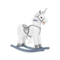 Balansoar interactiv Unicorn Kruzzel, 38 x 20 x 65 cm, lemn, 3 ani+, Alb/Argintiu