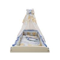 Baldachin Teddy Hug MyKids, 150 x 210 cm, voal/bumbac, Albastru