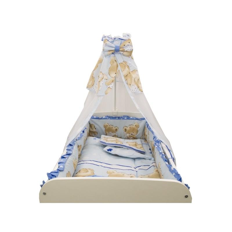 Baldachin Teddy Hug MyKids, 150 x 210 cm, voal/bumbac, Albastru 2021 shopu.ro