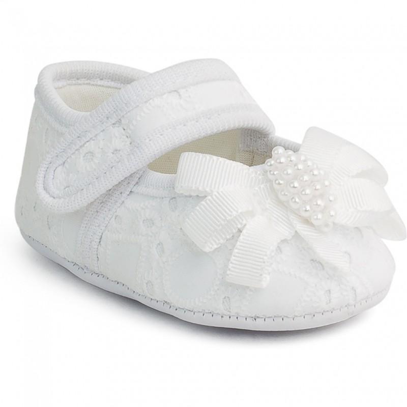Balerini pentru bebelusi cu perlute Pimpolho, marime 17, dantela, Alb 2021 shopu.ro
