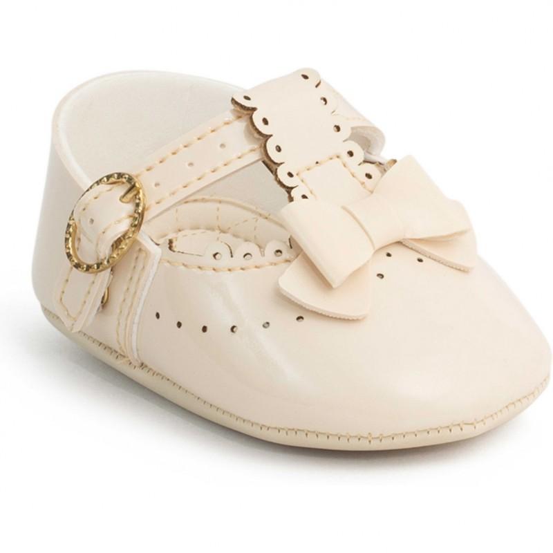 Balerini pentru bebelusi cu fundita Pimpolho, marime 17, catarama reglabila, tesatura matlasata, Bej 2021 shopu.ro