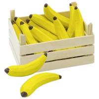 Set 10 Banane in ladita Goki, 13.6 x 10.6 x 6.8 cm, lemn, 3 ani+, Galben