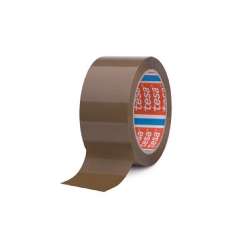 Banda adeziva ambalare Tesa, 66 m x 48 mm, adeziv de cauciuc, Maro shopu.ro