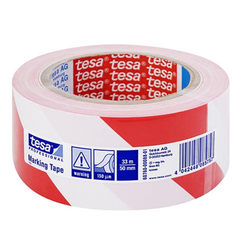 Banda adeziva pentru marcare Tesa, 33 m x 50 mm, Rosu/Alb 2021 shopu.ro