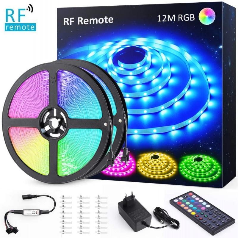 Set 2 benzi LED RGB Novostela, 360 x LED, 12 m, 8 moduri luminare, 20 culori, telecomanda RF shopu.ro