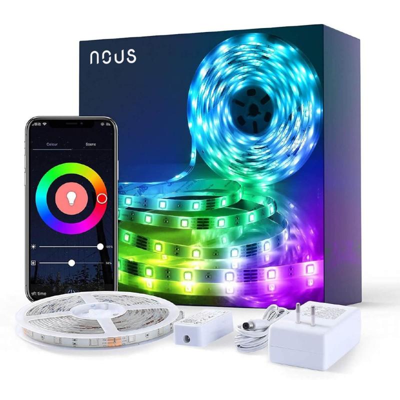 Banda LED Smart Nous F1, WiFi, RGB, 24 W, 1700 lumeni, 10 metri, control vocal, aplicatie Smart, temporizator 2021 shopu.ro