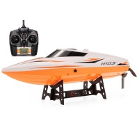 Barca RC cu telecomanda TKKJ H105, 30 km/h, 2 canale, 150 m, 1500 mAh, LED, functie intoarcere