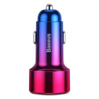 Incarcator auto Magic PPS QC 4.0 Baseus, 45 W, LED, 2 x USB, Rosu/Albastru
