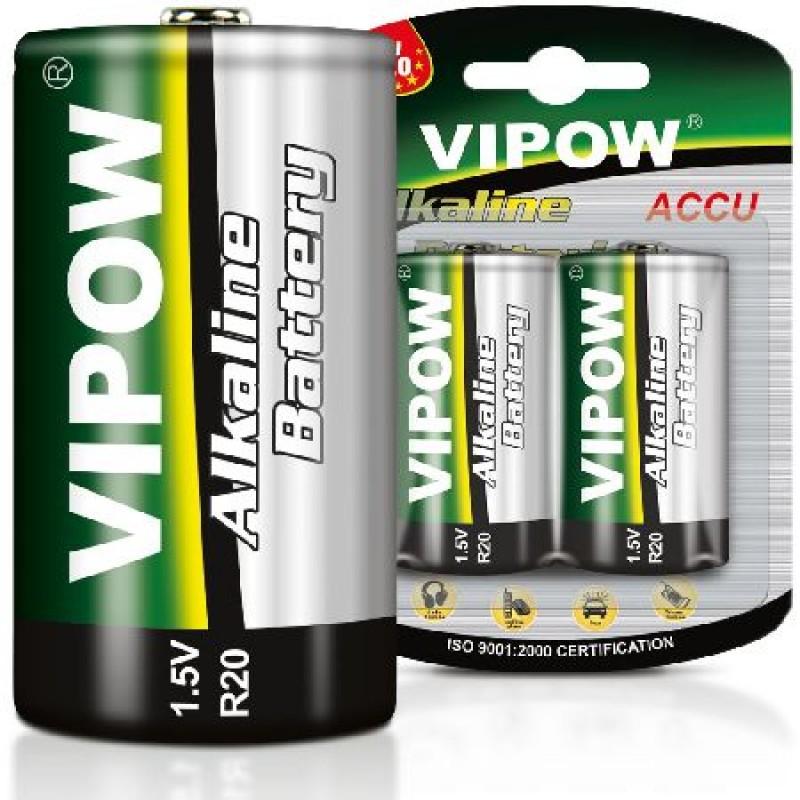 Set 2 baterii alcaline Vipow, 1.5 V, D-LR20, blister 2021 shopu.ro