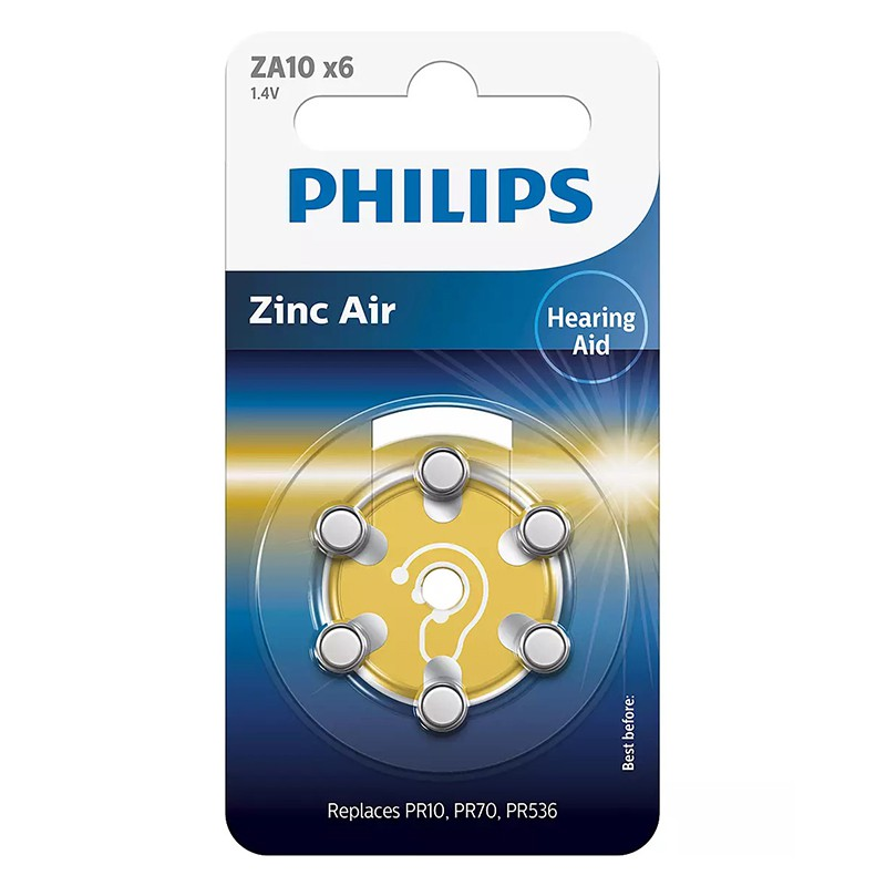 Set 6 baterii auditive Zinc Air Philips, ZA10, 1.4 V, 90 mAh, ambalaj blister 2021 shopu.ro