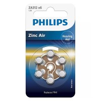 Set 6 baterii auditive Zinc Air Philips, ZA312, 1.4 V, 160 mAh, ambalaj blister