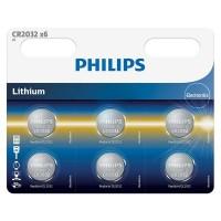 Set 6 baterii Lithium Philips, CR2032, 3 V, 210 mAh, ambalaj blister