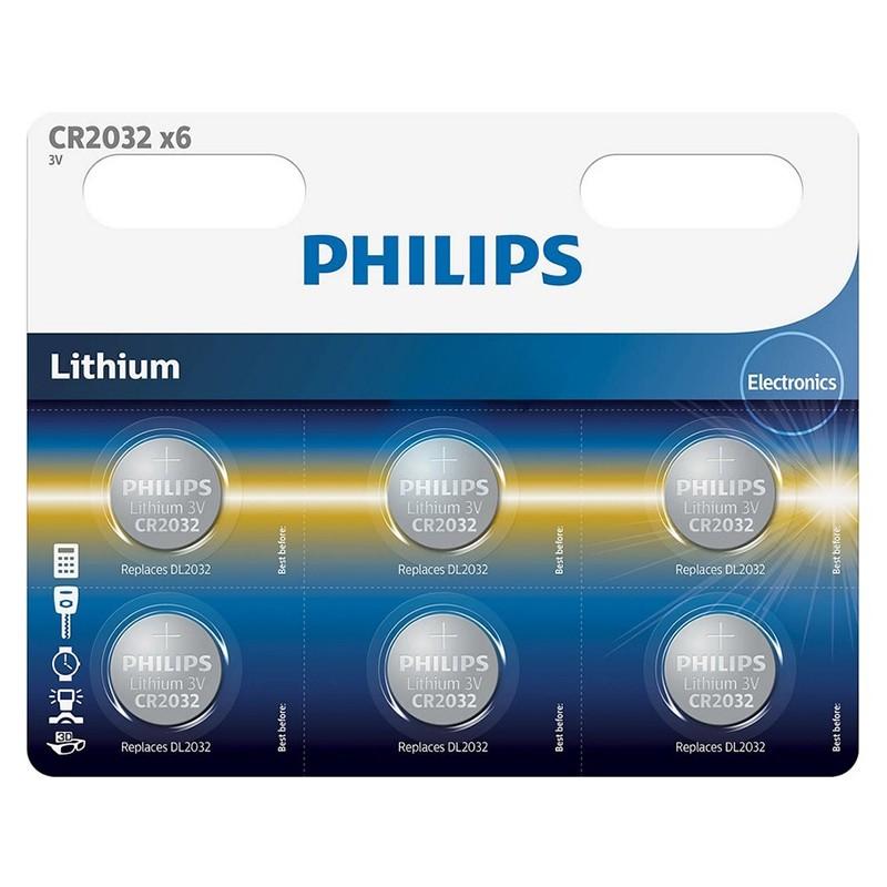 Set 6 baterii Lithium Philips, CR2032, 3 V, 210 mAh, ambalaj blister 2021 shopu.ro