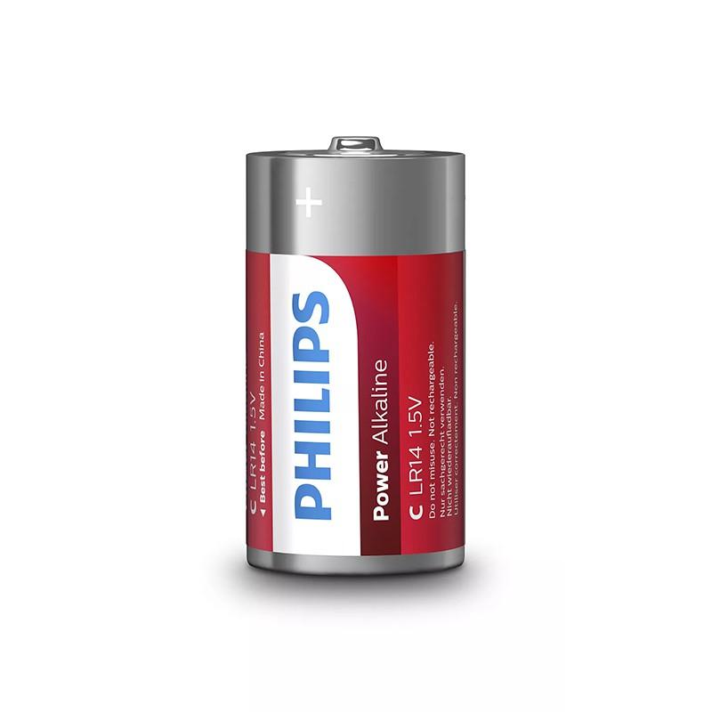 Set 2 baterii power alkaline Philips, LR14 C, 1.5 V, ambalaj blister 2021 shopu.ro
