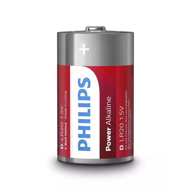 Set 2 baterii Power alkaline Philips, LR20D, 1.5 V, ambalaj blister 2021 shopu.ro