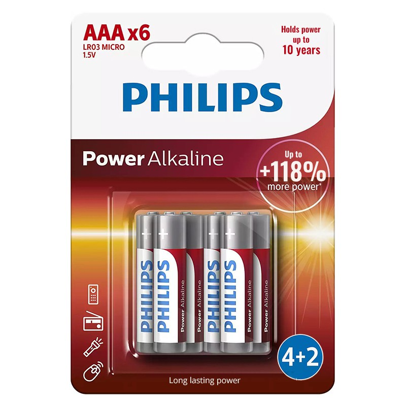 Set baterii Power Alkaline Philips, 6 x LR3 AAA, 1.5 V 2021 shopu.ro