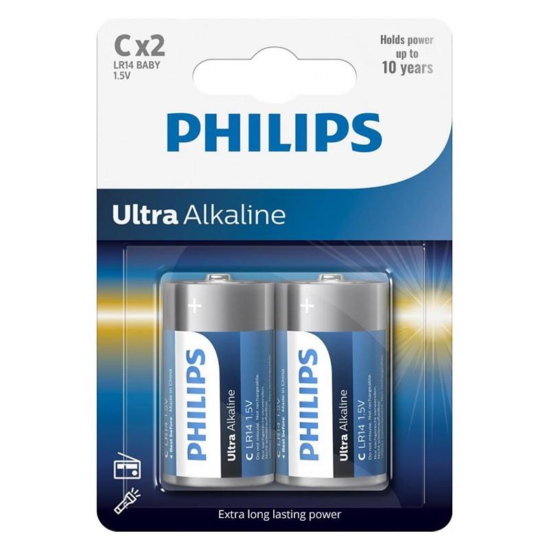 Set 2 baterii Ultra Alkaline Philips, LR14 C, 1.5 V, ambalaj blister