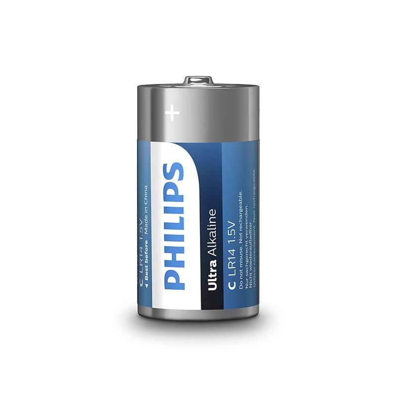 Set 2 baterii Ultra Alkaline Philips, LR14 C, 1.5 V, ambalaj blister 2021 shopu.ro