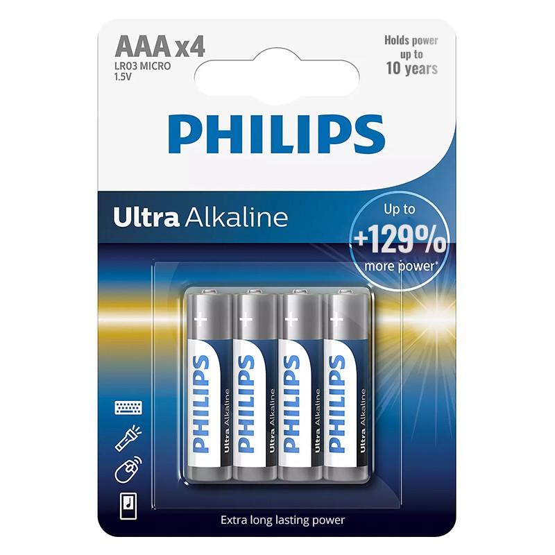 Set baterii Ultra Alkaline Philips, 4 x LR AA, 1.5 V