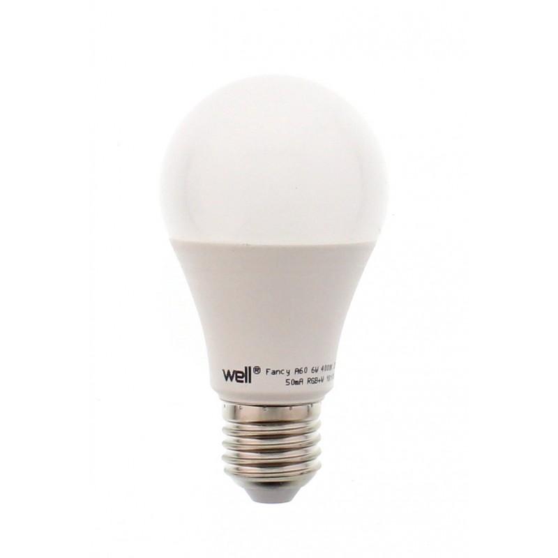 Bec cu led Well, A60, E27, 9W, 230V, lumina RGB si lumina naturala, telecomanda 2021 shopu.ro