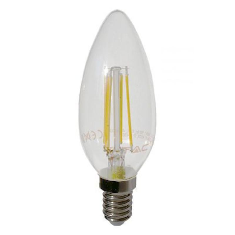 Bec economic cu filament LED, 4 W, 400 lm, 2700 K, soclu E14, lumina alb cald, forma lumanare shopu.ro