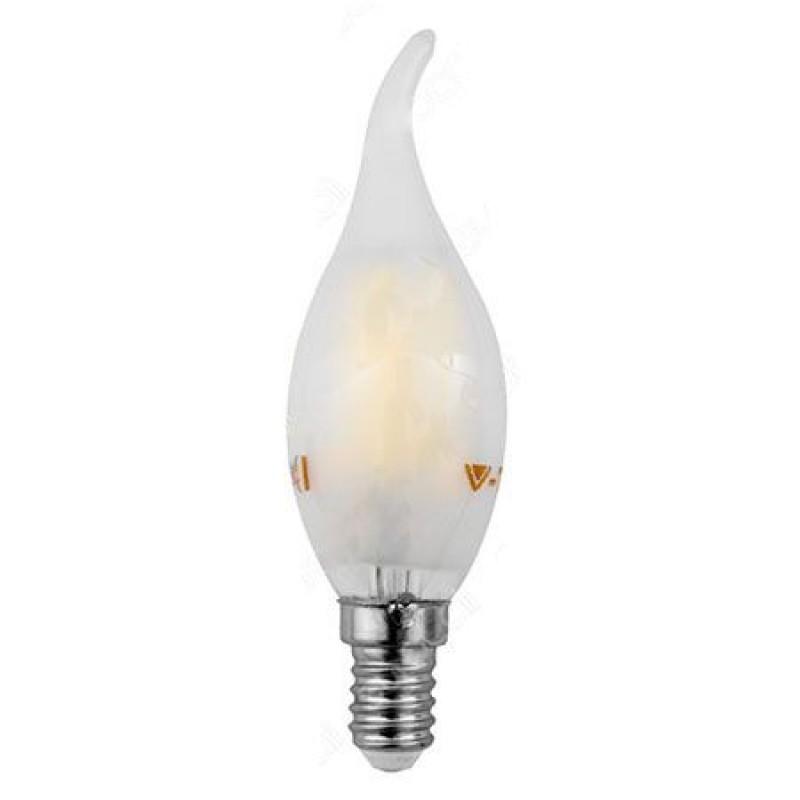 Bec economic cu filament LED, 4 W, 400 lm, 6400 K, soclu E14, lumina alb rece, forma flacara de lumanare shopu.ro