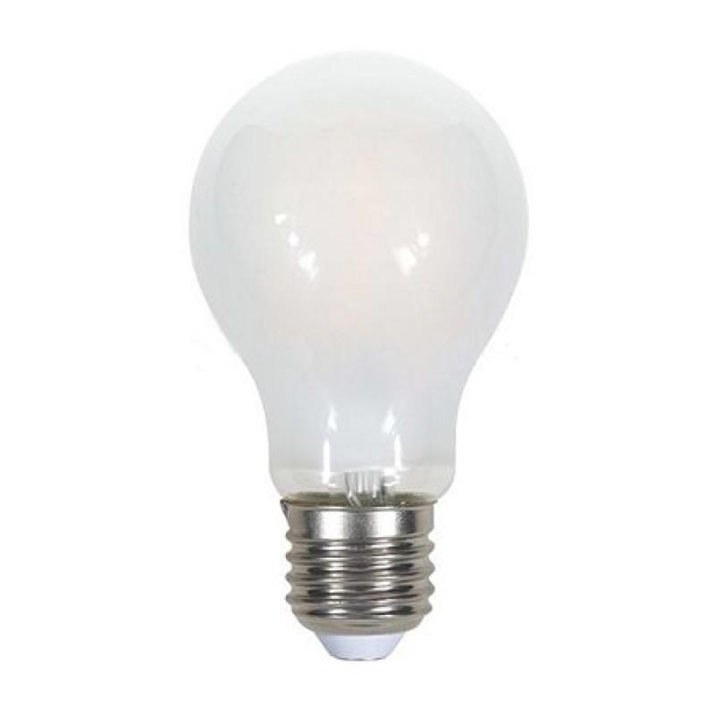 Bec economic cu filament LED, 5 W, 600 lm, 2700 K, soclu E27, lumina alb cald, sticla mata, forma A60 shopu.ro