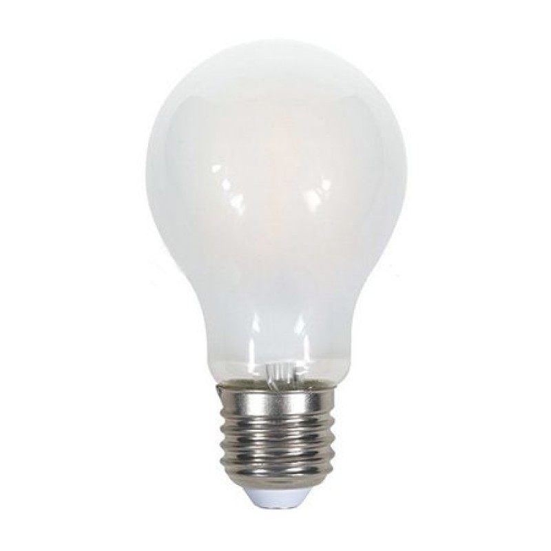 Bec economic cu filament LED, 5 W, 600 lm, 4000 K, soclu E27, lumina alb neutru, sticla mata, forma A60 2021 shopu.ro