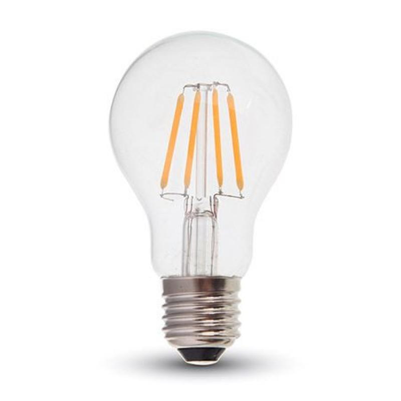 Bec LED cu filament A60, soclu E27, 6 W, 806 lm, temperatura 2700 K, cip samsung, culoare alb cald 2021 shopu.ro