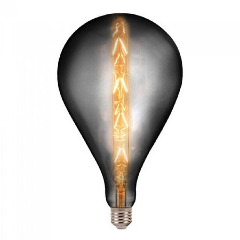 Bec LED cu filament G165, soclu E27, 8 W, temperatura 2200 K, culoare alb cald, model Smoky 2021 shopu.ro