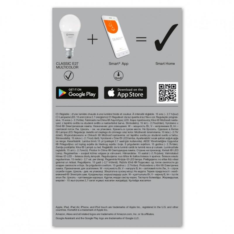 Bec LED Smart Ledvance, WiFi, 9.5 W, 6500 K reglabil, 230 V, 1055 Lumeni, E27, aplicatie, A+, Multicolor