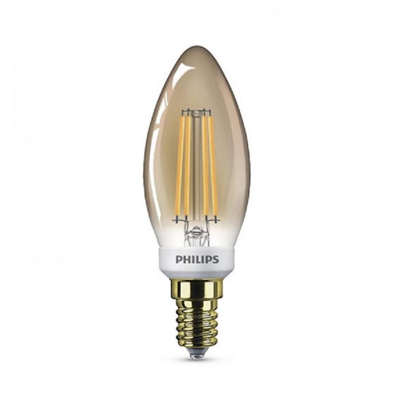 Bec LED Philips, B35, 5 W, 410 Lumeni, 2500 K, 240 V, E14, A+, intensitate luminoasa reglabila