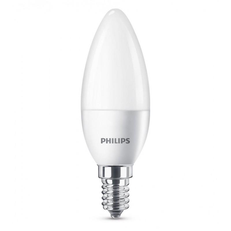Bec LED Philips Candle, 5.5 W, 2700 K, 470 Lumeni, 220 V, E14, alb cald, 15000 ore, clasa energetica A+ shopu.ro
