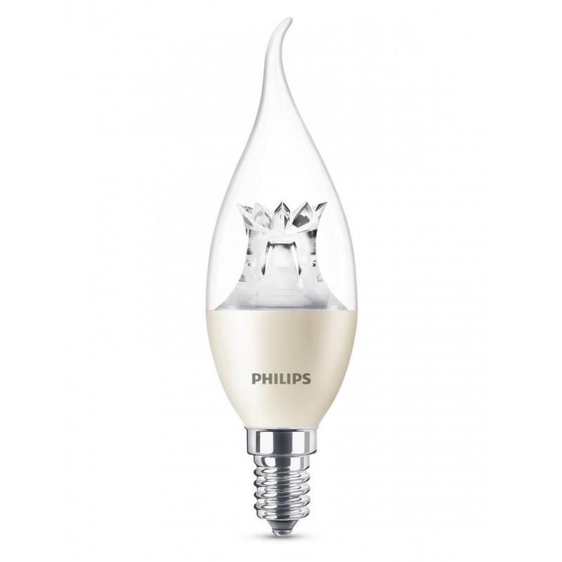 Bec LED Philips Candle, 4 W, 2700 K, 250 Lumeni, 240 V, E14, 15000 ore, A+, intensitate luminoasa reglabila shopu.ro