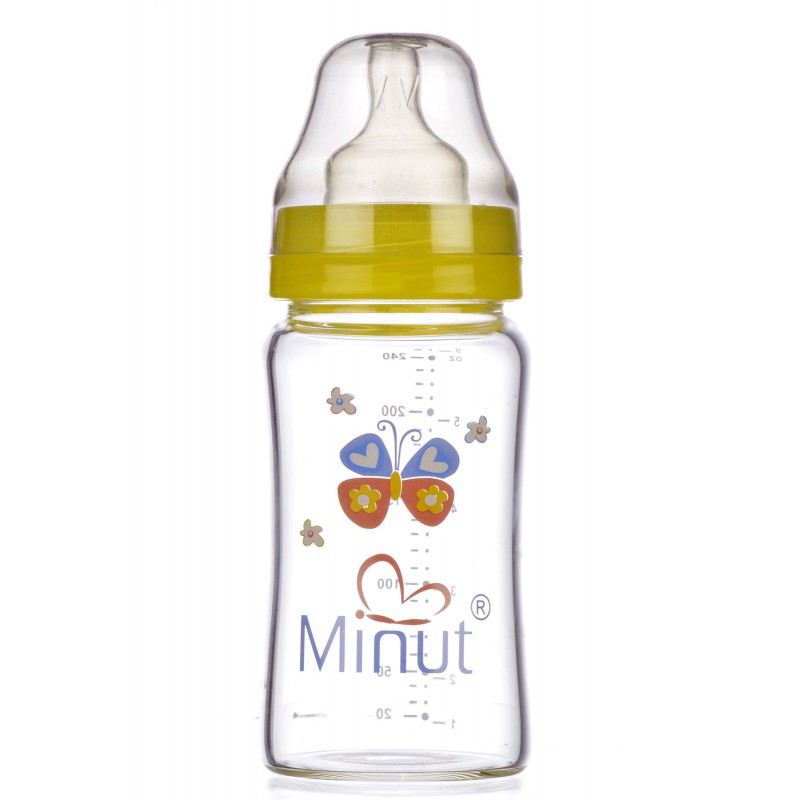 Biberon Minut, sticla premium, gat larg, 240 ml
