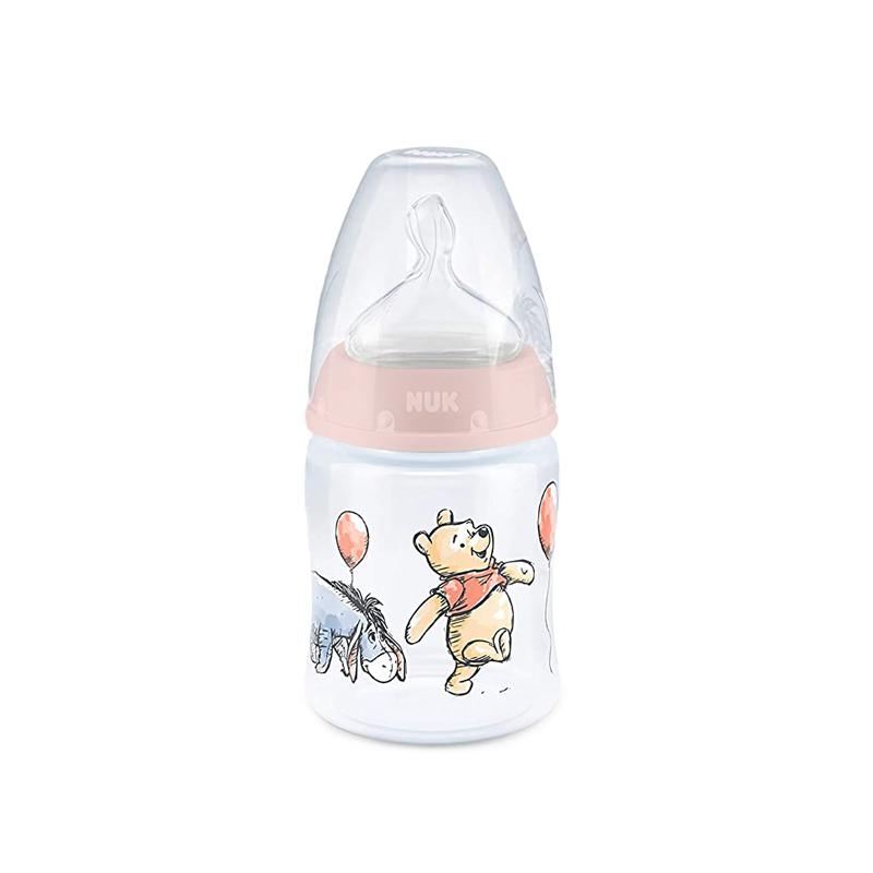 Biberon Disney First Choice Nuk, 150 ml, poliamida, orificiu M, tetina silicon, 0-6 luni, Roz 2021 shopu.ro