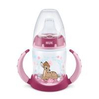 Biberon cu toarte Disney Bambi First Choice Nuk, 150 ml, polipropilena, tetina silicon, 6-18 luni, Roz