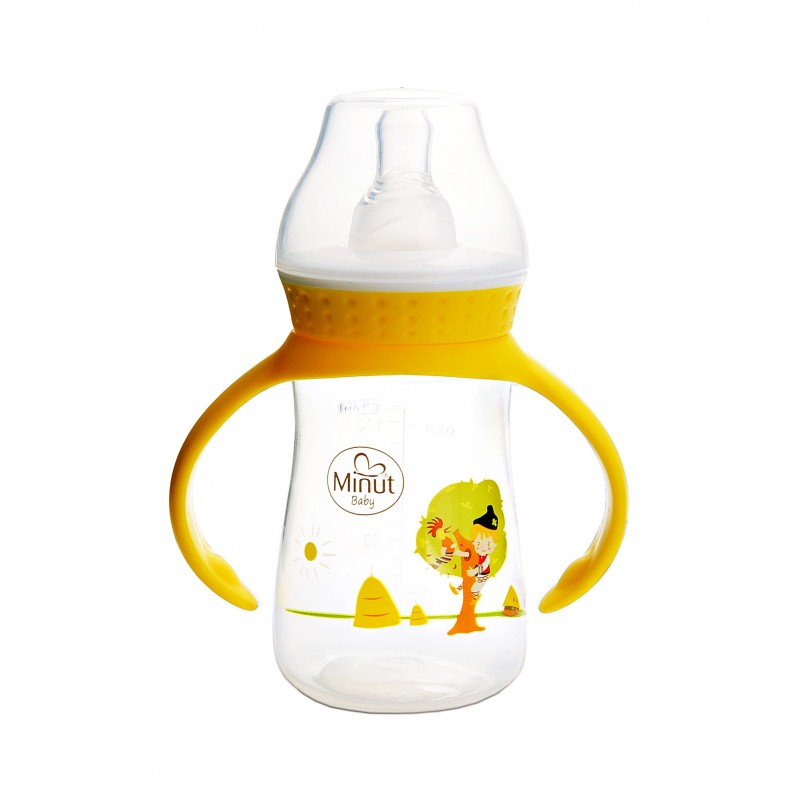 Biberon cu manere Pupaza din tei Minut Baby, 125 ml, 0 luni+ 2021 shopu.ro