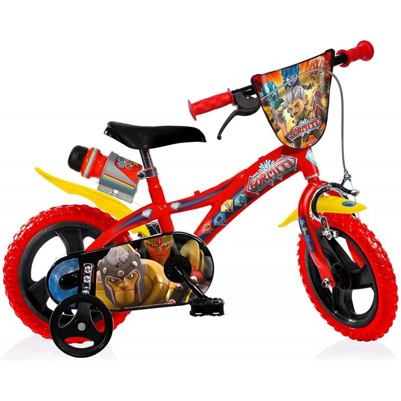 Bicicleta pentru copii Gormiti, frana fata, spite otel, roti EVA 12 inch, scaun reglabil, 3 - 4 ani 2021 shopu.ro