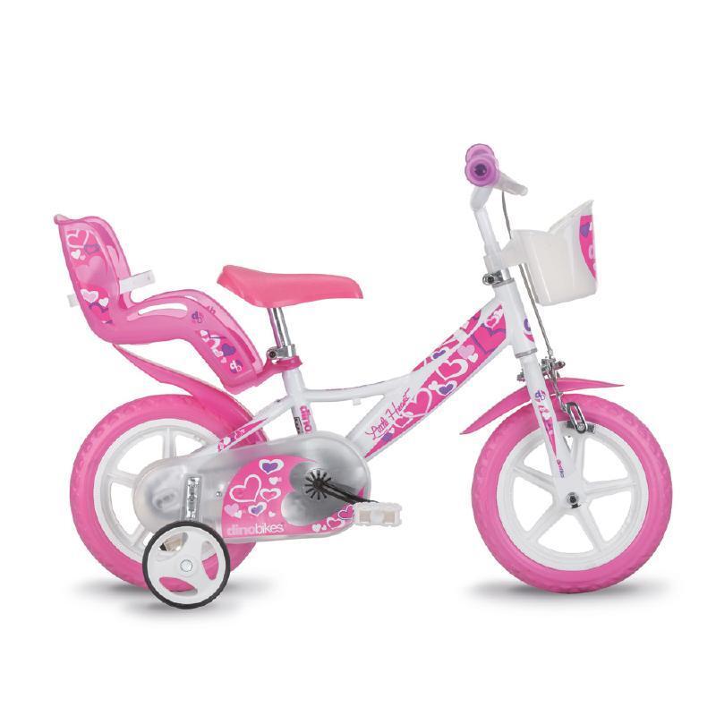 Bicicleta pentru copii Dino Bikes, 12 inch, cosulet inclus, maxim 40 kg, 3-4 ani, model inimioare, Roz/Alb