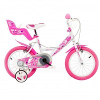 Bicicleta pentru fetite Dino Bikes RN, 14 inch, cosulet si scaunel pentru papusa
