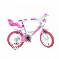 Bicicleta pentru fetite Dino Bikes RN, cosulet si scaunel pentru papusa, 5 ani+