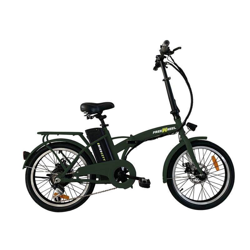 Bicicleta electrica E-bike City FreeWheel, 250 W, 25 km/h, autonomie 35 km, pliabila, aluminiu/otel, Verde 2021 shopu.ro