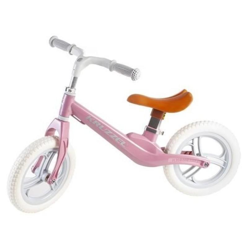 Bicicleta fara pedale Kruzzel, otel carbon, 12 inch, 80 x 55/63 cm, 1 an+, Roz 2021 shopu.ro