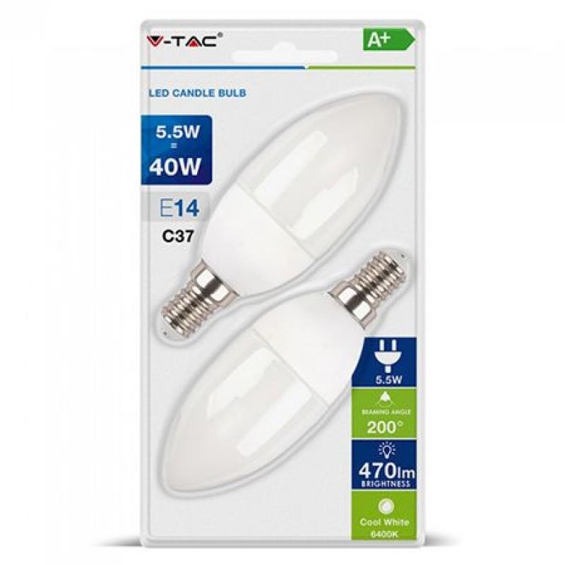 Set 2 becuri LED, soclu E14, putere 5.5 W, 6400 K, alb rece shopu.ro