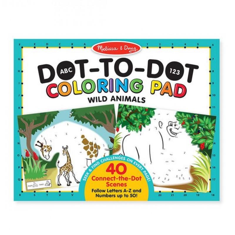 Carte de colorat punct cu punct Melissa & Doug, model Animale salbatice, 40 pagini, 4 ani+ 2021 shopu.ro